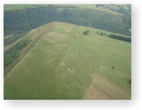 An aerial view of Fin Cop hillfort