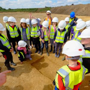 A group of school children visited the quarry to learn about archaeology and what we had been finding.