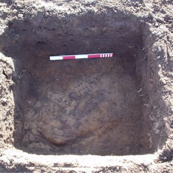 An example of a test pit excavated through the ploughsoil at Lanton Quarry revealing part of a buried pit feature. © Copyright ARS Ltd 2018