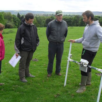 Training volunteers in the use of geophysics equipment as part of the Whirlow Hall Farm community archaeology project. © Copyright ARS Ltd 2018