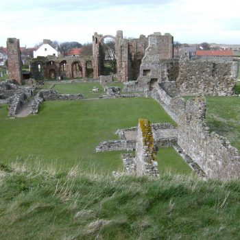 A photograph of Lindisfarne Priory, surveyed as part of the North East Rapid Coastal Zone Assessment.
