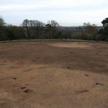A high-level photograph taken of an Iron Age roundhouse on a site near Morpeth, Northumberland. © Copyright ARS Ltd 2018