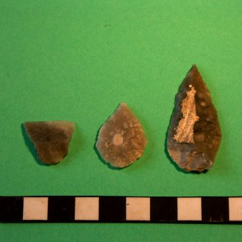 From left to right, a chisel arrowhead, a leaf shaped arrowhead and a spear point that were found at Lanton Quarry. © Copyright ARS Ltd 2018