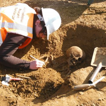 Careful excavation of a skeleton on a quarry site.