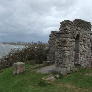 The remains of St Hildeburgh's Chapel on Hilbre Island.