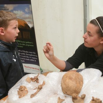 Teaching school children about archaeology at the Glendale Show, Northumberland. © Copyright ARS Ltd 2018