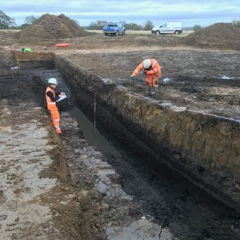 Drawing a trench section whilst digging a trench through a kettlehole.