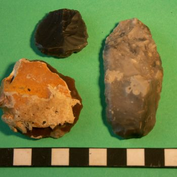 Various types of flint scrapers found during fieldwalking at Lanton Quarry. © Copyright ARS Ltd 2018