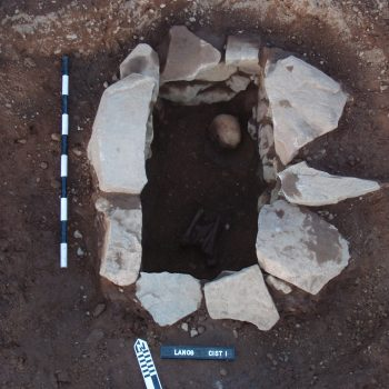 This stone-built, corbelled cist had been constructed to hold the skull and leg bones of an adult female. © Copyright ARS Ltd 2018