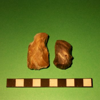Examples of flint end scrapers which were probably used for scraping animal hides before being made into clothes, bags or tent coverings. © Copyright ARS Ltd 2018
