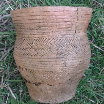 A short-necked Bronze Age beaker that was found intact within one of the burial cists.