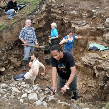 Volunteers helping to excavate the ramparts at Fin Cop hillfort.