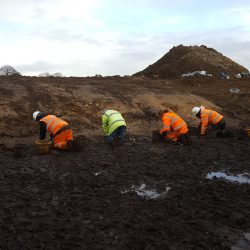 The team beginning the removal of the Mesolithic soil within the kettle hole. © Copyright ARS Ltd