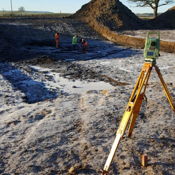 As part of the recording process during the excavation of the kettle hole each deposit and archaeological feature was accurately mapped to national grid co-ordinates using survey equipment. © Copyright ARS Ltd