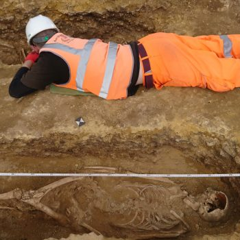Dave carefully excavating one of the medieval burials. © Copyright ARS Ltd