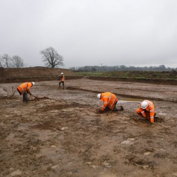 The fieldwork team cleaning and recording the ring ditch at Clitheroe. © Copyright ARS Ltd