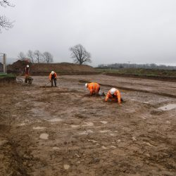 Cleaning and recording the ring ditch. © Copyright ARS Ltd
