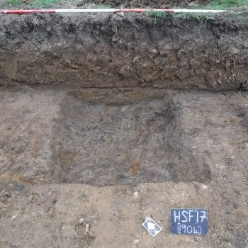 An excavated section through the ring ditch (scale = 2m). © Copyright ARS Ltd