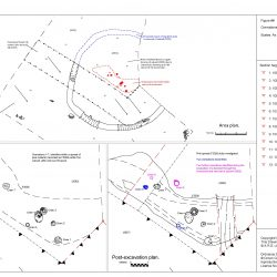 A plan of the ring ditch showing the locations of the cremations. © Copyright ARS Ltd