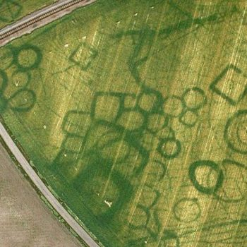 Cropmarks of square and circular enclosures. Courtesy of Cliche J Dassie. Accessed from Flickr.