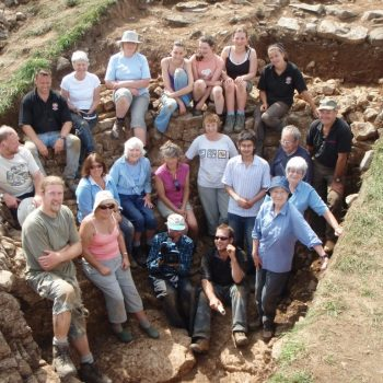 ARS Ltd. staff and volunteers during the excavation at Fin Cop hillfort.