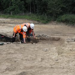 Excavation of a large ditch which marked the northern perimeter ditch. © Copyright ARS Ltd.