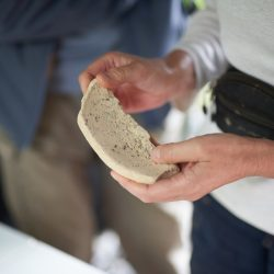 A sherd of a mortaria food preparation mixing vessel recovered during the excavations. © Copyright Sam Devito