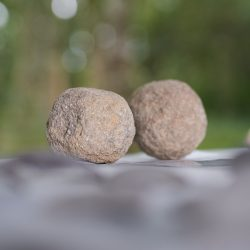 The two ballista balls which have been recovered. These would have been fired from a catapult. © Copyright Sam Devito