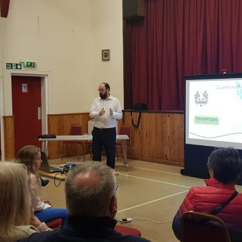 Rupert gives a talk on the results of the excavation to local residents at Bishop Middleham Village Hall.