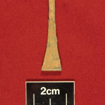 The pair of tweezers which were recovered from the grubenhaus during excavation. © Copyright ARS Ltd 2020