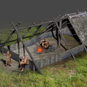 Digital reconstruction of a Neolithic timber-built house. © Copyright ARS Ltd 2020
