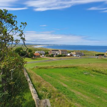The view from the top of the pele tower looking northwards along Druridge Bay. © Copyright ARS Ltd 2020
