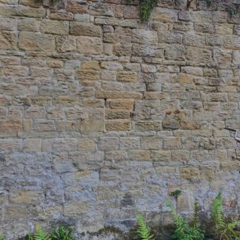 One of the rows of holes within the walled garden north-facing wall. © Copyright ARS Ltd 2020