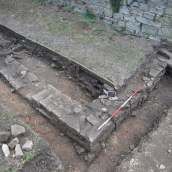 Building 3 wall foundation found during the 2018 excavations. © Copyright ARS Ltd 2020