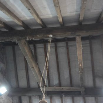 The large wooden frame attached to the ceiling, which may have been used for lifting large animal carcasses. © Copyright ARS Ltd 2020
