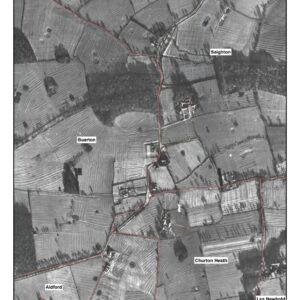 A partitioned manorial centre at Bruera with modern parish boundaries overlaid. © Copyright ARS Ltd 2021.