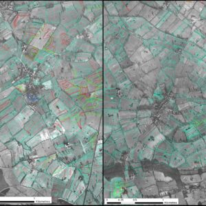 Comparison of field systems surrounding the secular manorial centre at Doddleston (left) and lands around the Benedictine monastic grange at Saighton (right), the latter showing evidence of a clearly defined infield-outfield system. © Copyright ARS Ltd 2021.