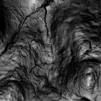 Lidar showing the extent of the survival of archaeological features across the area to the south-east of Yeavering Bell. Such features are very difficult to discern on the ground, even with reference to the lidar! © Copyright ARS Ltd 2021.