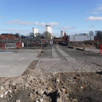 An overview of the central yard area looking north-east towards the dye shop. © Copyright ARS Ltd 2021.